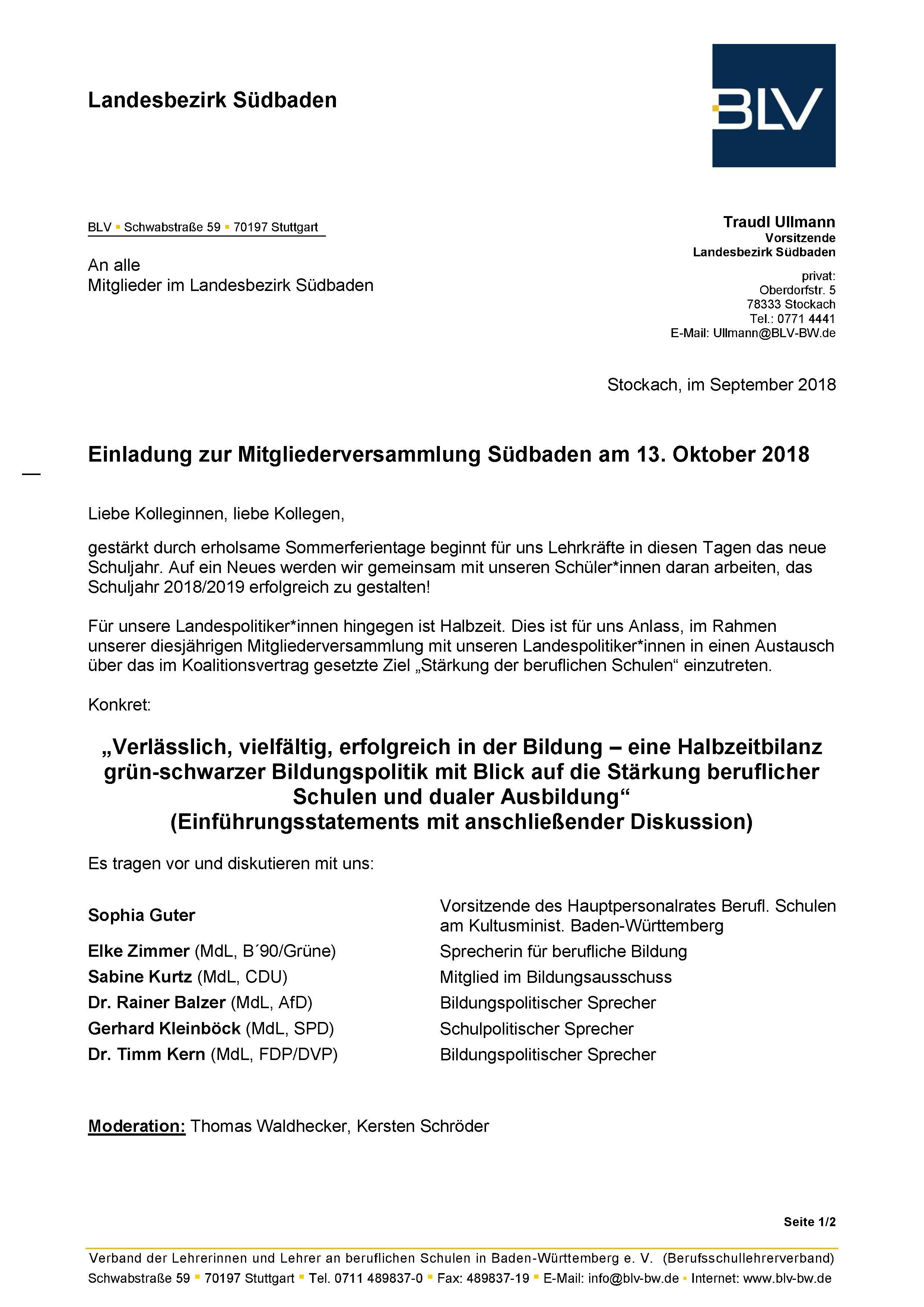 Südbaden: Mitgliederversammlung - Berufsschullehrerverband Baden ...