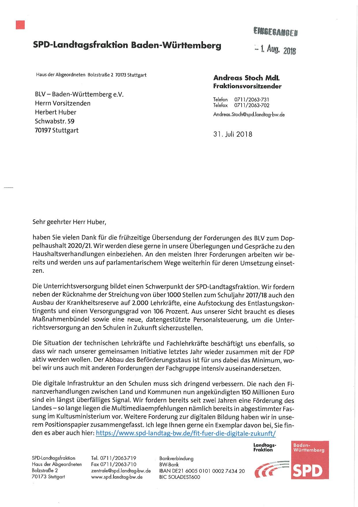 BLV-Forderungen zum Doppelhaushalt 2020/21 ... on